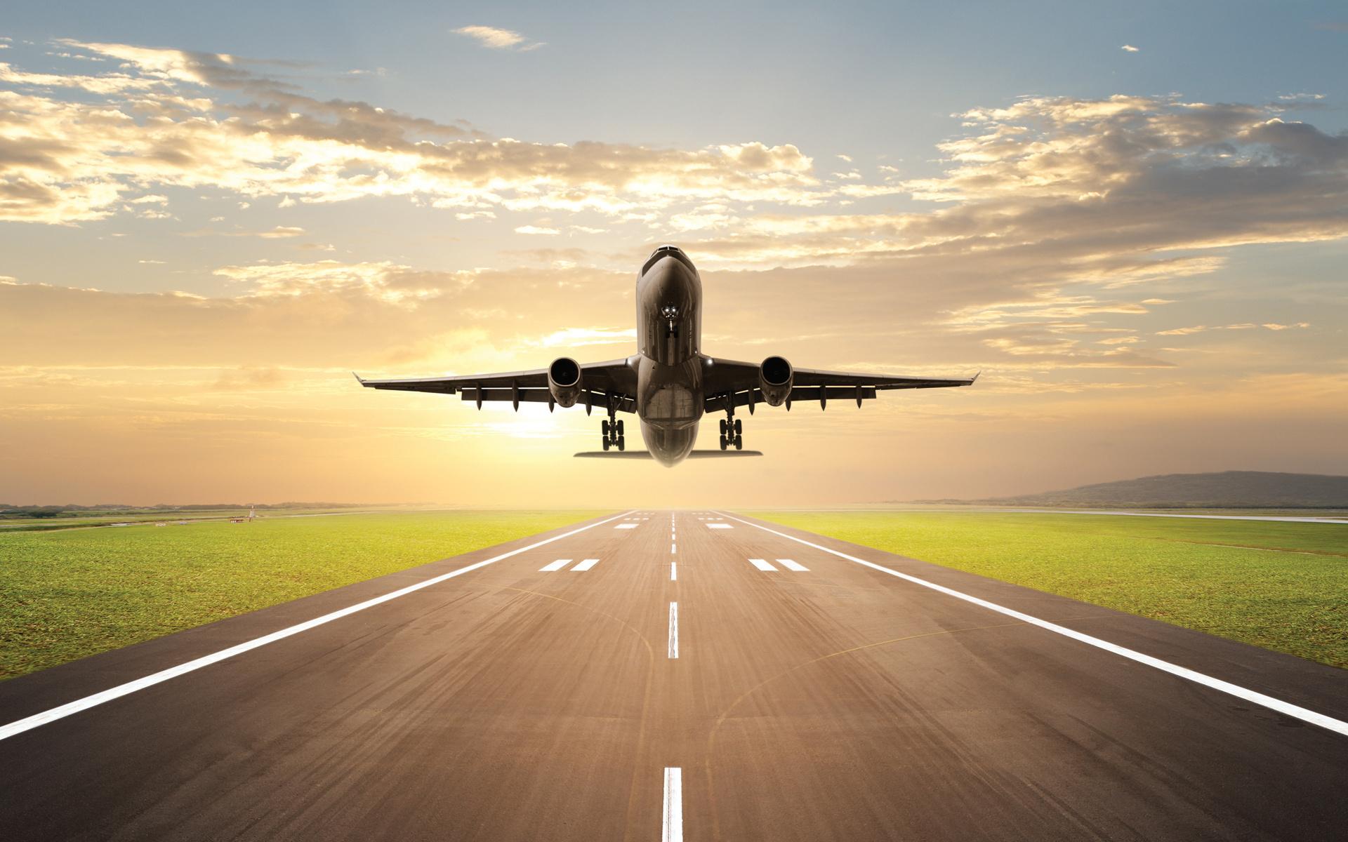 самолёт, небо, взлёт, солнце, закат,расцвет